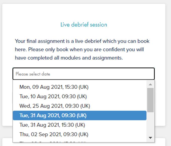 Booking debrief